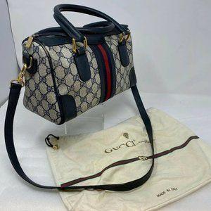 Vtg Gucci Doctors Shoulder Bag Purse GG Blue Gray